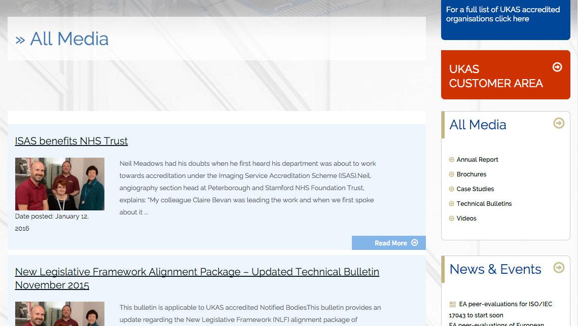 Solutions Portfolio UKAS Web design Web development